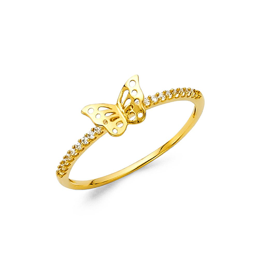 Paradise Jewelers 14K Solid Yellow Gold Butterfly Cubic Zirconia Band Fancy Ring, Size 6.5