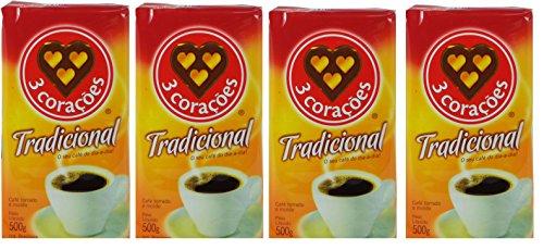 3 Corações - Coffee Rost and Ground - Traditional - 17.60 oz (PACK OF 04)   Café Torrado e Moído - Tradicional - 500g