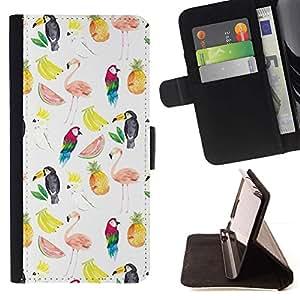 For Samsung Galaxy S6 EDGE (NOT S6) Case , Patrón de sandía Flamingo Loro Blanco- la tarjeta de Crédito Slots PU Funda de cuero Monedero caso cubierta de piel