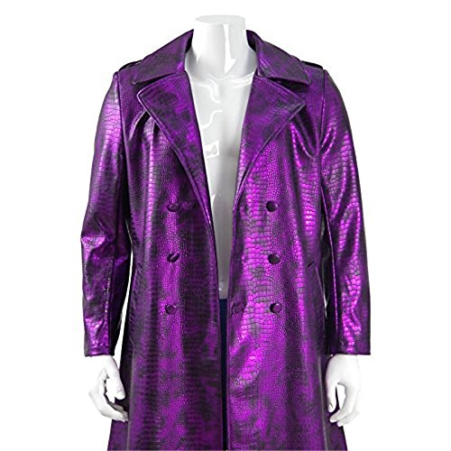 Men's Purple PU Leather Halloween Costumes Long Trench Coat Cosplay for Joker (XXXL)