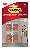 Command 17032C-4ES Wall Hooks, Small, Copper