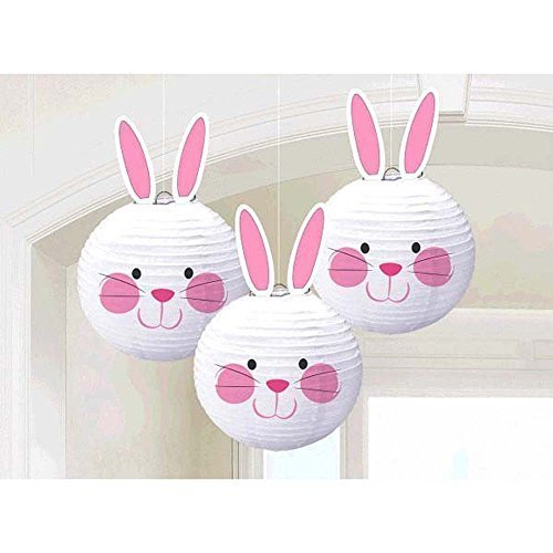 Amscan Easter Bunny Paper Chinese Lantern Decorations 3/pkg ()