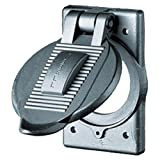 Hubbell Wiring Systems HBL9425 Cast Aluminum FS/FD Mount Wall Plate with WDL''Closed'' Weatherproof Lift Cover, 1 Gang, 2.05'' Opening, 50 Amp, 2 Pole, 3 Wire