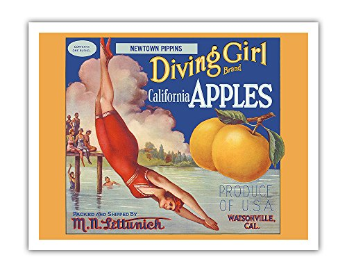 California Apples - Newtown Pippins - Diving Girl Brand - Vintage Fruit Crate Label c.1920s - Fine Art Print - 11in x 14in