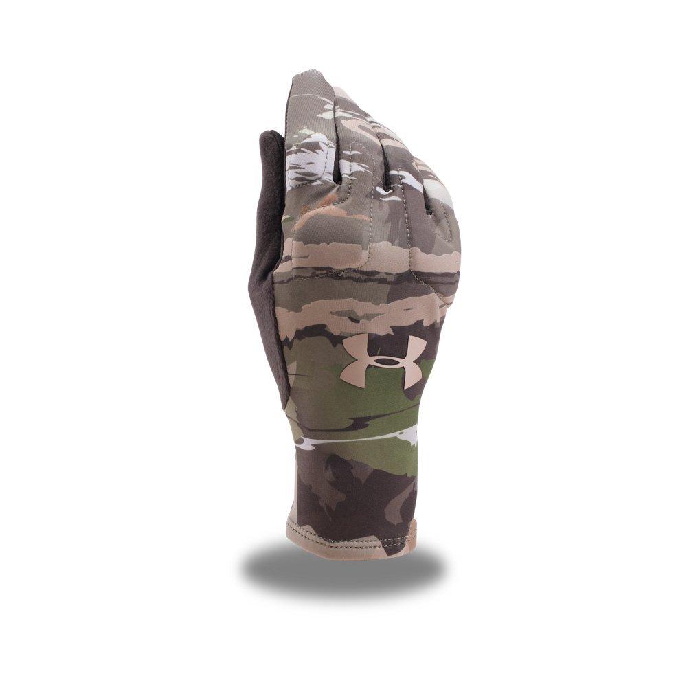 Under Armour Women's Scent Control Liner Gloves, Ridge Reaper Camo Fo (943)/Metallic Beige, Small