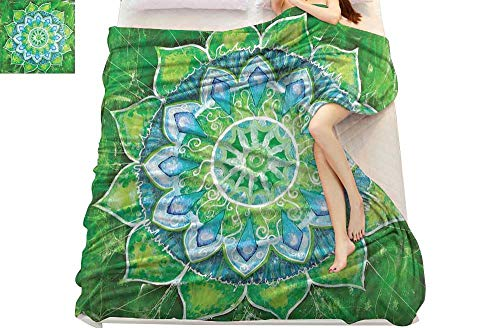 smallbeefly paw Patrol Blanket Mandala,Grand Mandala with Leaf Forms Symbol of Nature and Zen Theme Green Boho Style Print,Green Blue Throw Blanket for Ultimate Comfort 90