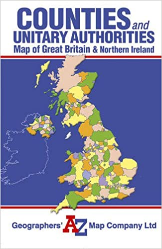 Great Britain Counties Unitary Authorities Map A Z Road Maps