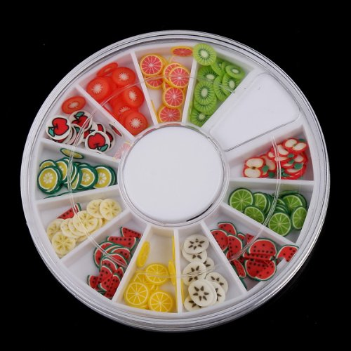 TOMTOP 120 Pcs Multicolor Mixed Pattern Fimo Nail Art Nail Tips Slice Decoration Wheel (Multicolor Fruit)