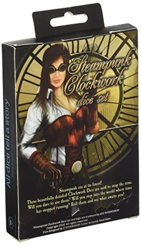 Q-Workshop Steampunk Clockwork Black & White Dice Set (7) Board Games 4