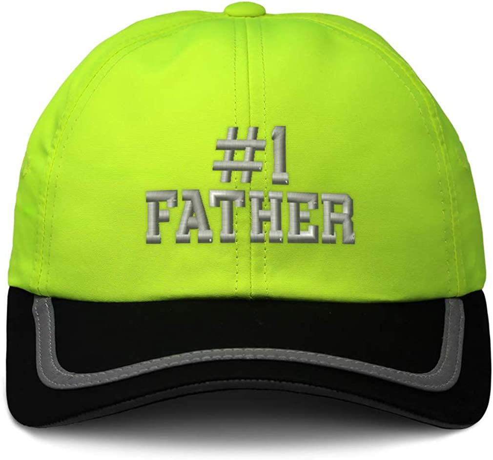 Custom Reflective Running Hat Number #1 Father Embroidery Polyester One Size