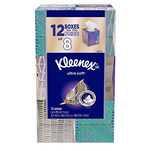 Kleenex Ultra Soft Facial Tissues (12 Pack, 75 tissues)