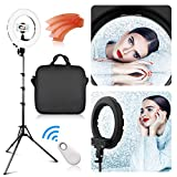 LED Ring Light with 2M Stand, FOSITAN 13.6 inch Outer/8.6 inch Inner 45W 5500K/3200K Dimmable LED Circle Lighting Kit with Bag for Camera Photo YouTube Vlog Makeup Video Shooting Salon Portrait Selfie