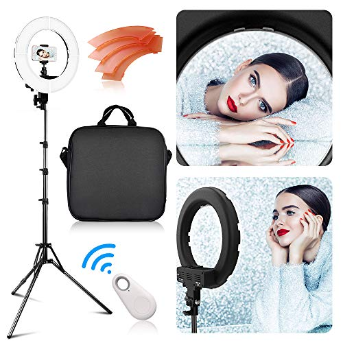 - LED Ring Light with 2M Stand, FOSITAN 13.6 inch Outer/8.6 inch Inner 45W 5500K/3200K Dimmable LED Circle Lighting Kit with Bag for Camera Photo YouTube Vlog Makeup Video Shooting Salon Portrait Selfie