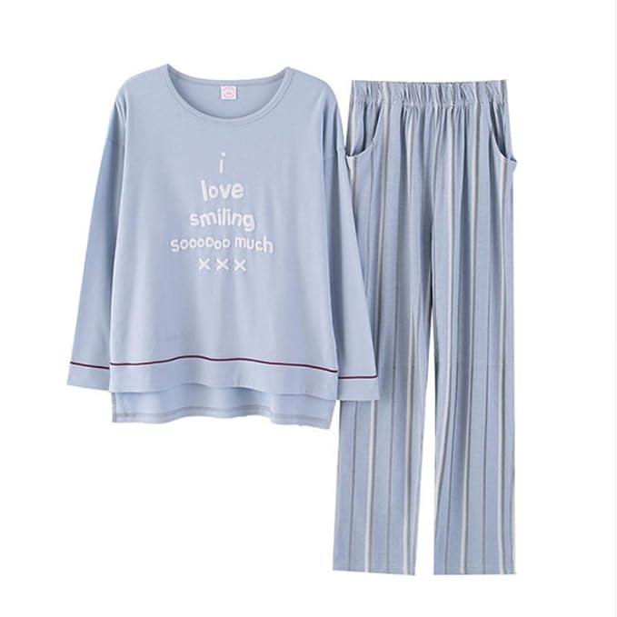 Mmllse 2018 Pantalones De Manga Larga Pijama De Mujer Establece Carta Raya Pijamas Dama Casual Vestirse Dormir Ropa De Dormir Homewear Vestido De Noche: ...