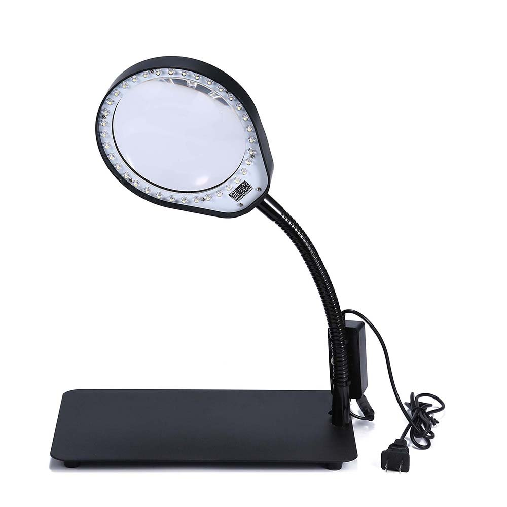 JoyUtoy Laptop Flexible Magnifier LED Desk Lamp USB Cabled, Powerful 3x5x8x10x Magnifying Glass, Smoothly Adjustable and Extra Bright LED Lights (10X, Black)