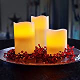 Kohree Real Wax Flameless Candles Battery Operated Led Candles Lights Remote Control Candles with Timer (Pack of 3)