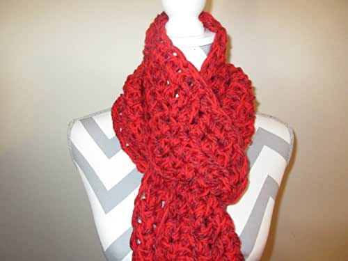 Handmade Crocheted Red Scarf Chunky Extra Long Scarf Shawl by Ladies Fashion OSFA Gift for Her with Gift Bag and Ribbon Free Shipping