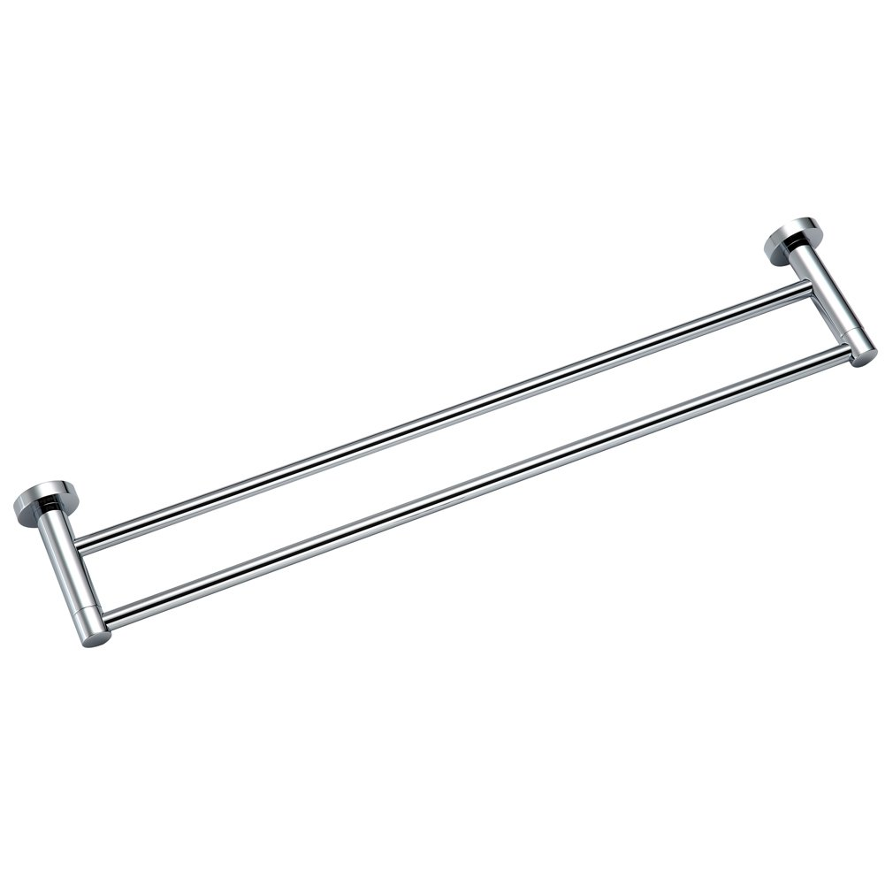 KINSE Chromed Stainless Steel Bath Towel Rail Double Bars for Wall Mounting Round for Bathroom Temtop