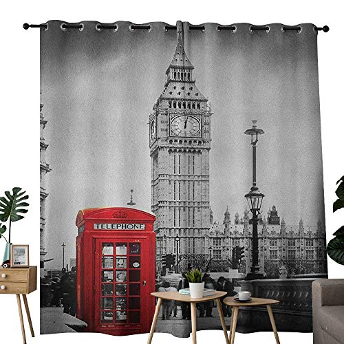 NUOMANAN Light Blocking Curtains London,Famous Telephone Booth and The Big Ben in England Street View Symbols of Town Retro, Red Grey,for Bedroom, Kitchen, Living Room -
