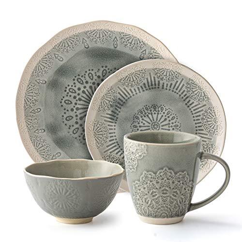 Ceramic Dinnerware Set 16-Piece Service for 4, Snowflake Pattern Intaglio Craft (Dinner Plate, Salad Plate, Cereal Bowl…