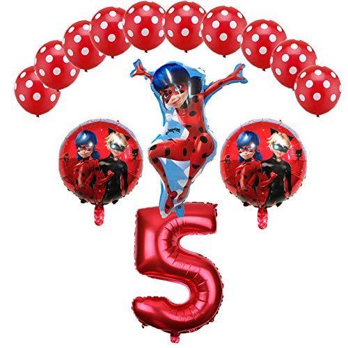 (Miraculous Ladybug Foil Balloons Birthday Party Decorations Number Ladybug Helium Mylar Latex Balloon Globos Wholesale - 14PCS (5))