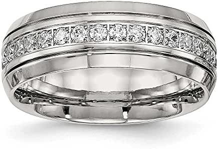8mm Stainless Steel Polished Half Round Grooved CZ Ring - Size 9.5