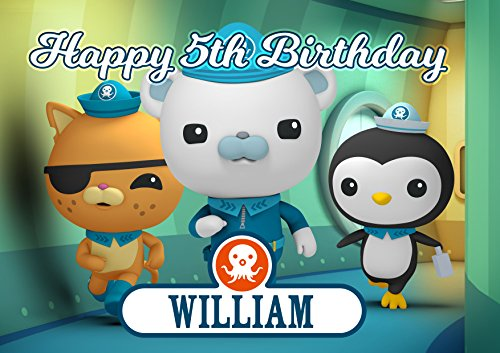 Octonauts Disney Junior Birthday Cake Personalized Cake Toppers Edible Frosting Photo Icing Sugar Paper A4 Sheet 1/4