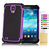 """32nd® Shock proof defender heavy duty tough dual case cover for Samsung Galaxy Mega 6.3"""" i9200 i9205 + screen protector, cleaning cloth and touch stylus - Purple"""