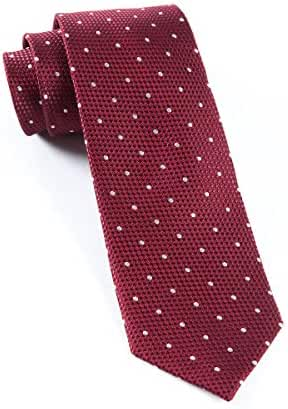 The Tie Bar 100% Woven Silk Burgundy Solid Textured Grenafaux Dots 2 1/2 Inch Tie