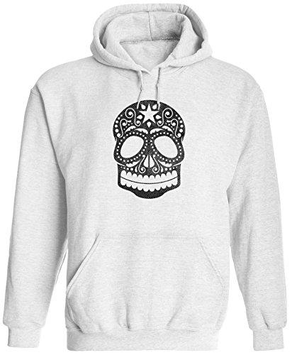 Unisex Mens Old Sugar Skull Drawing Pullover Hooded Sweatshirt (White, XL) ()