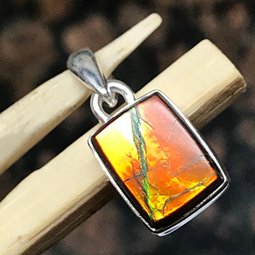 AAA Natural Canadian Ammolite 925 Solid Sterling Silver Healing Stone Pendant 20mm