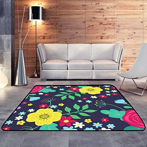 Durable Rubber Floor Mat,Floral Colorful red and Yellow Roses and Blue Flowers and Green Leaves Dark.W 78.7