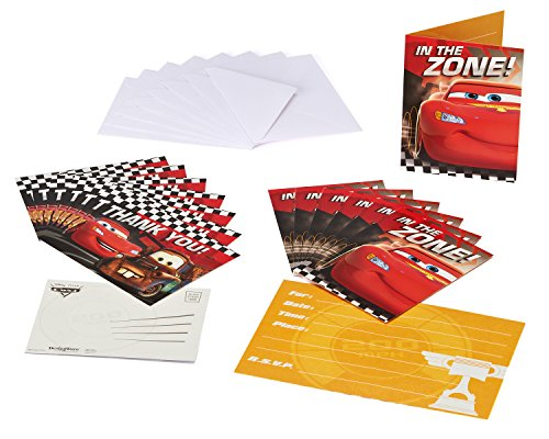 (Cars Invite and Thank You Combo, 8 Pack, Party)