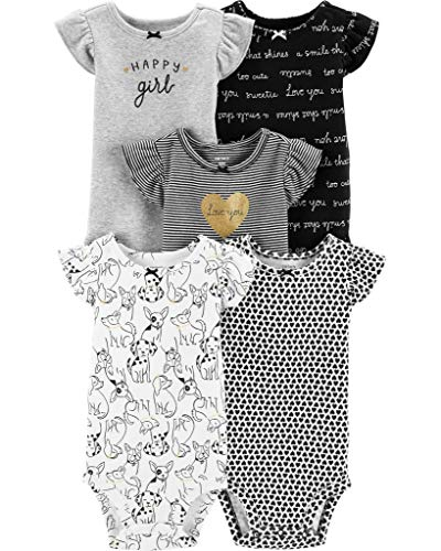 Carter's Baby Girls 5 Pack Bodysuit Set, Black/White, Newborn (Glitter Onesie)