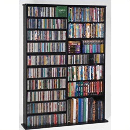 Leslie Dame CDV-1000BLK High Capacity Oak Veneer Multimedia Storage Rack, Black