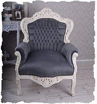 Nostalgie Sitzmöbel Barock Sessel Weiss Grau Schnitzereien Antik