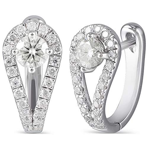 DovEggs 10K White Gold Post 0.82CTW 4mm H-I Color Yellow Tinted Created Moissanite Hoop Earrings Platinum Plated Silver