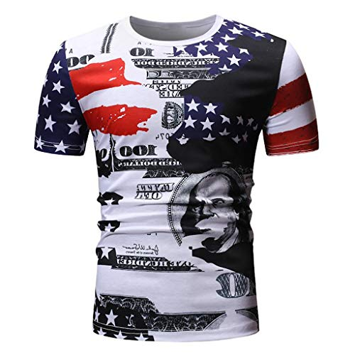 YOCheerful Men's Summer Tops Printed T-Shirts Personality Printed Casual Short Sleeves USA Tops(Red, M)]()