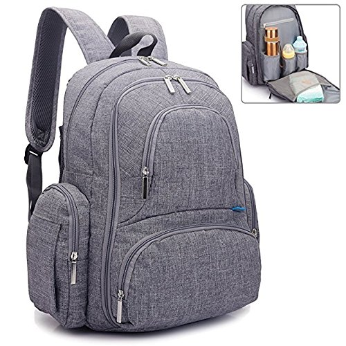 REGIONAL'S Baby Diaper Backpack | Scratch Proof with Insulated Pockets | Large Size Water-resistant Baby Bag | Multi-functional Travel Knapsack (Grey)