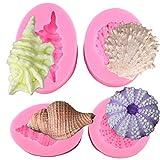 Mujiang Seashell Silicone Mold Shell Fondant Mold Cupcake Cake Decoration Tool Set