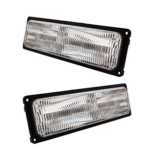 Parking Suburban Light (Pair Set Park Signal Front Marker Lights Lamps Replacement for 94-02 GM SUV Pickup Truck w/Composite Headlamps 5976837 5976838)