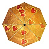 Lots Of Gold And Red Hearts With Swirls printing inside travel Umbrella easy to carry and Auto Open Close