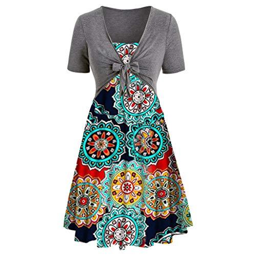 FAPIZI Women Summer Print Sunflower Cami Dress Bow Knot Bandage Top Plus Size Mini Dress Suits Swing T-Shirt