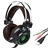 ALLCACA Multi-functional Gaming Headset Portable Over Ear Headphone Practical Wired Headphone with LED Light, Large Earmuffs and Microphone, Great for Playing Games, Grey