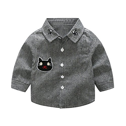 Toddler Christmas Infant Baby Boys Embroidery Cartton Cat Striped T Shirt Tops Outfits by WOCACHI Back to School -