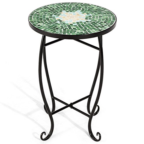 Custpromo Mosaic Accent Table Metal Round Side Table Plant Stand Cobalt Glass Top Indoor Outdoor Garden Patio Table (Bella Green)