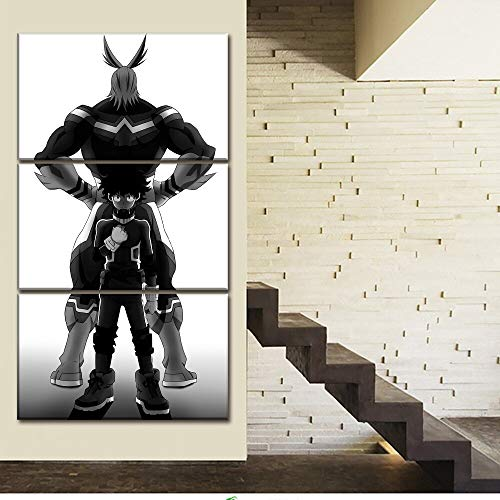 sansiwu Wuliuqi 3 Wall Art Canvas Paintings 3 Pieces My Hero Academia Pictures Anime Printed Home Decor Poster for Living Room Modular Frame(Frameless)