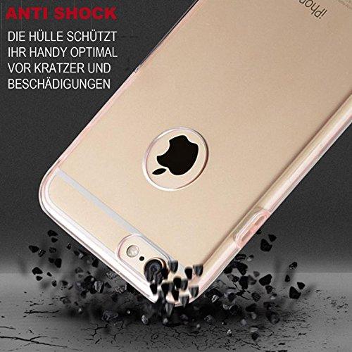 Handy Schutz Hülle mit Displayschutz Touch Case für Apple iPhone 6 / 6S 360 Rundum Schutz Kunststoff & TPU Bumper Full Body Cover Schale Etui in Blau
