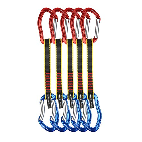 XINDA Climbing Carabiner Quickdraw Set - Quickpack Climbing Equipment with Bent Gate and Straight Gate Carabiners, UIAA Dogbone Slings Quick Draw for Sport or Trad Climbing