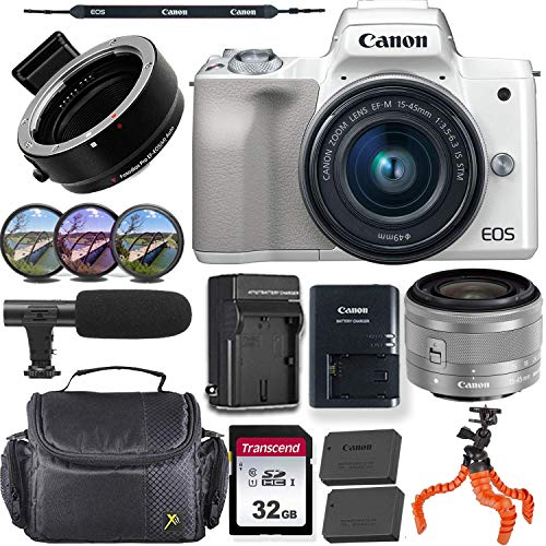 Canon EOS M50 Mirrorless Camera (White) w/Canon 15-45mm f/3.5-6.3 is STM Lens + M-Adapter & Exclusive Video-Accessory Bundle